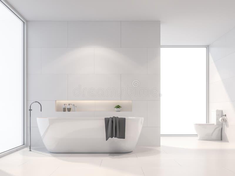 De moderne witte 3d badkamers geeft terug Het zonlicht glanst in de ruimte royalty-vrije illustratie