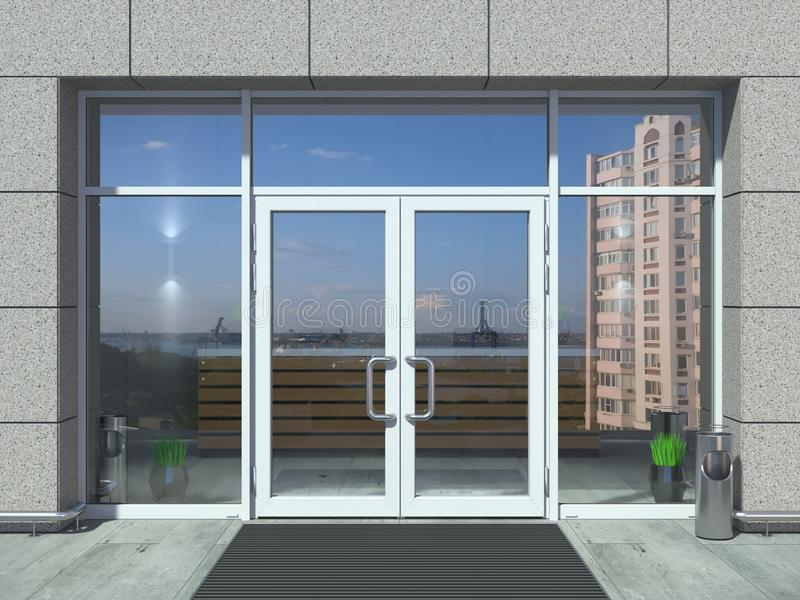 De moderne witte deur van de bureauingang royalty-vrije illustratie