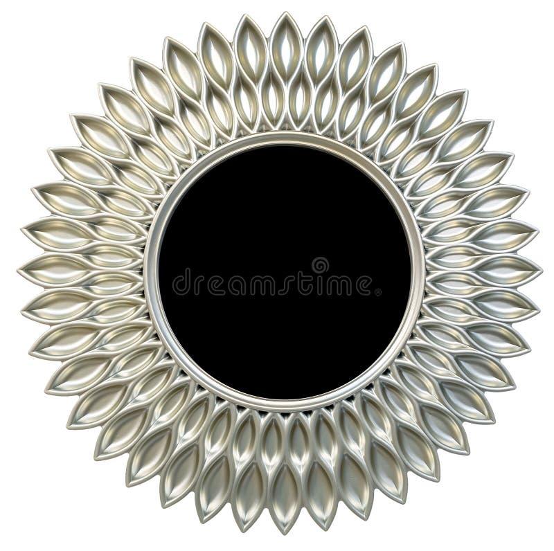 De moderne zilveren ronde de zon of de bloemvorm van het spiegelkader isoleerde witte achtergrond royalty-vrije illustratie