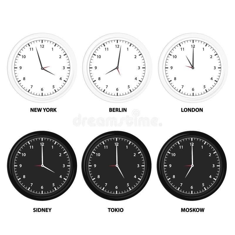 De moderne zwarte, witte en silhouetreeks van dag en nacht klokt voor tijdzones verschillende steden royalty-vrije illustratie