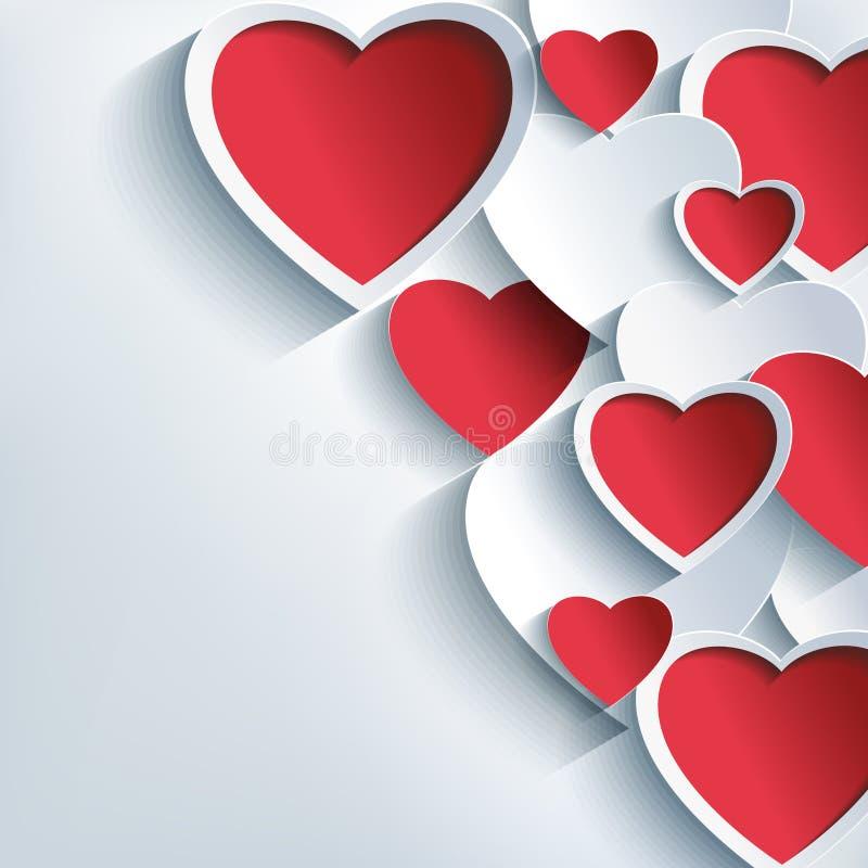 De modieuze achtergrond van de Valentijnskaartendag met 3d rood en  vector illustratie