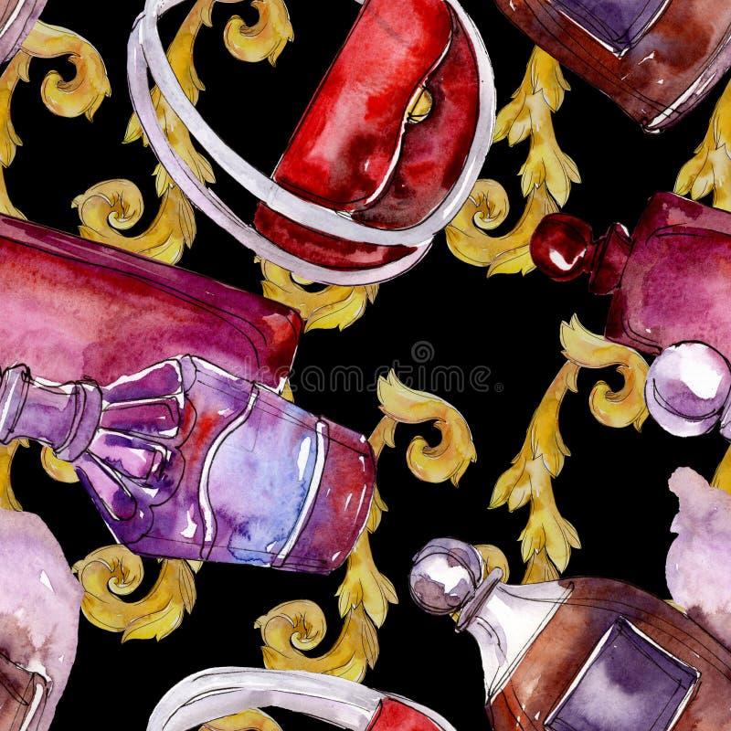De modieuze illustratie van de schetsglamour in een waterverfstijl ge?soleerd element Naadloos patroon als achtergrond royalty-vrije stock afbeelding