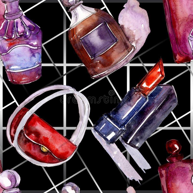 De modieuze illustratie van de schetsglamour in een waterverfstijl ge?soleerd element Naadloos patroon als achtergrond royalty-vrije stock foto