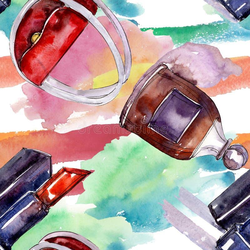 De modieuze illustratie van de schetsglamour in een waterverfstijl ge?soleerd element Naadloos patroon als achtergrond stock fotografie
