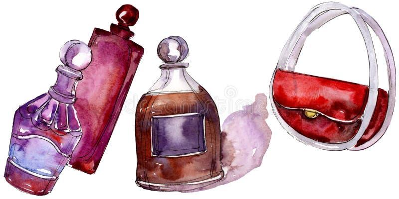 De modieuze illustratie van de schetsglamour in een waterverfstijl ge?soleerd element Watercolour achtergrondreeks stock afbeeldingen