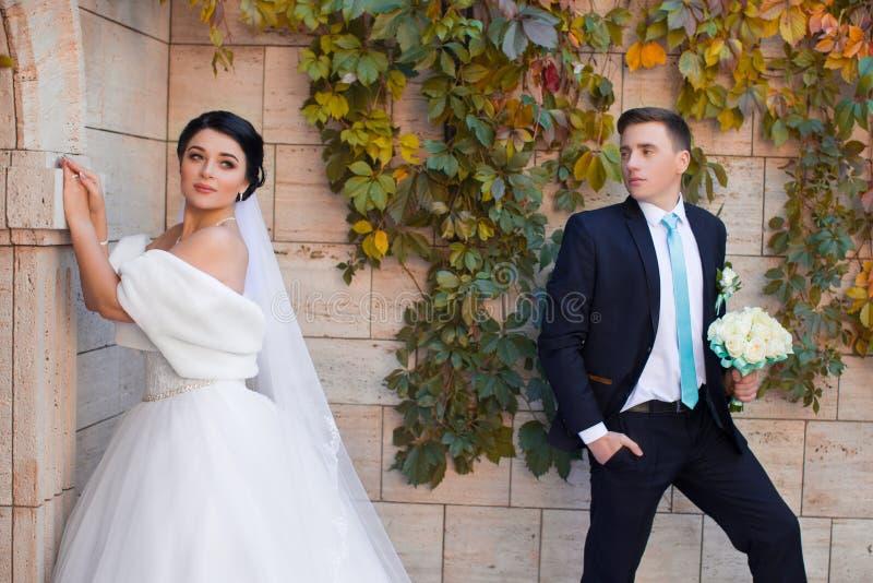 De modieuze jonggehuwden die op foto stellen schieten stock foto