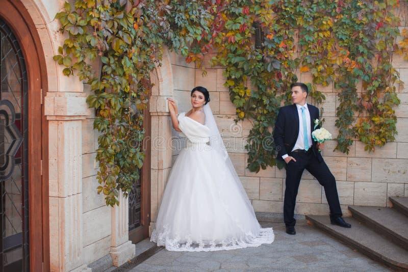 De modieuze jonggehuwden die op foto stellen schieten royalty-vrije stock fotografie