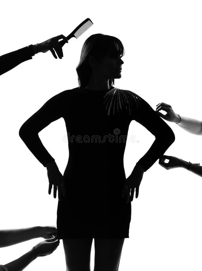 De modieuze mannequin van de silhouetvrouw royalty-vrije stock afbeeldingen