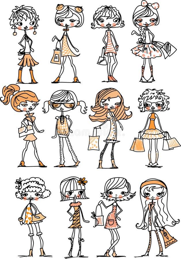 De modieuze meisjes van het beeldverhaal royalty-vrije illustratie