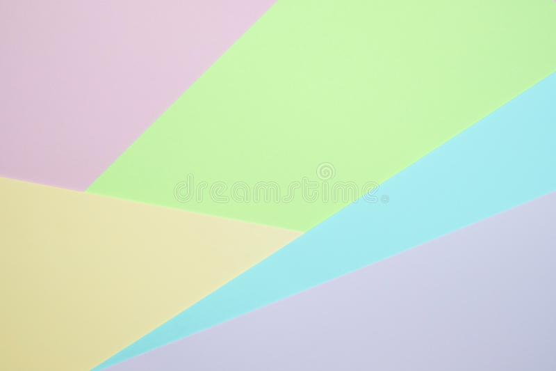 De modieuze pastelkleur kleurde document vlakte legt hoogste mening, geometrische B royalty-vrije stock foto's