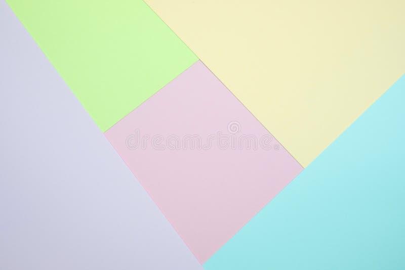 De modieuze pastelkleur kleurde document vlakte legt hoogste mening, geometrische B royalty-vrije stock afbeeldingen