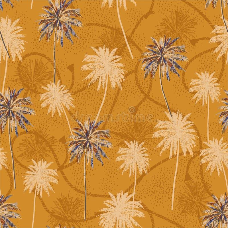 De modieuze retro tropische laag van de plamboom op van de de textuurzomer van de zeemanskabel de stemmings naadloos patroon in v royalty-vrije illustratie