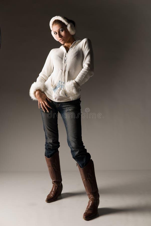 De modieuze Vrouw van de Winter royalty-vrije stock afbeelding