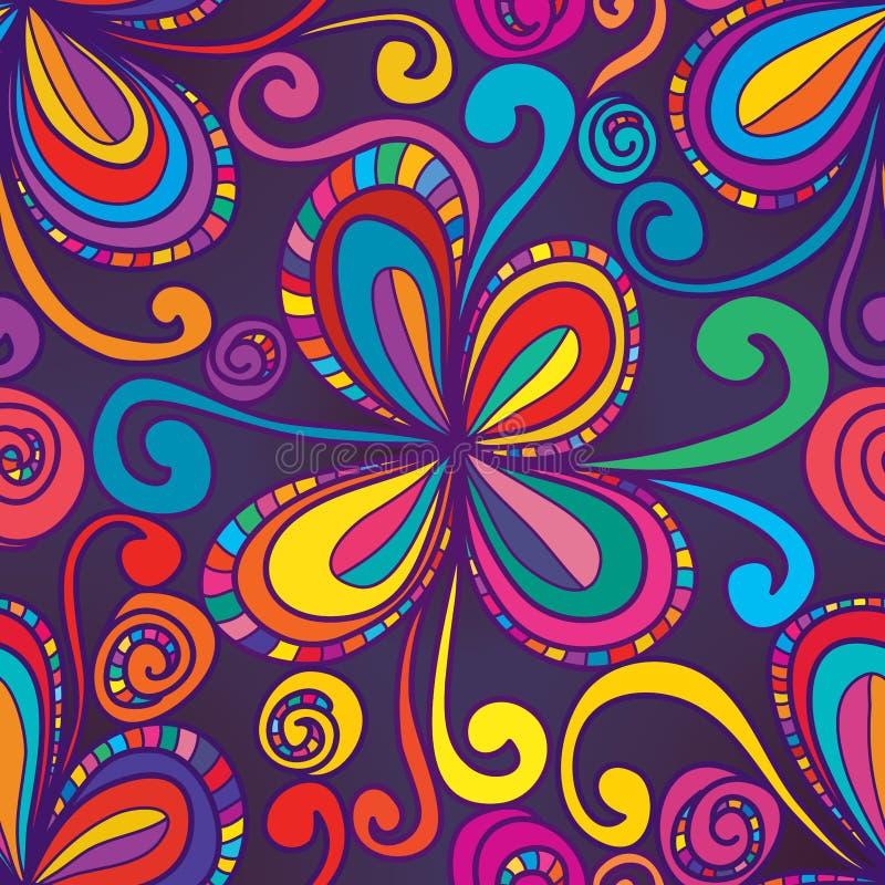 De modieuze wervelings naadloos patroon van de wervelingsbloem stock illustratie