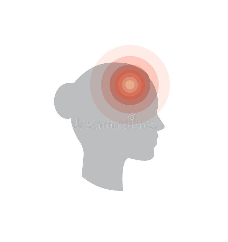 de modification de foie noir de graphisme de protection blanc médical simplement Mal de tête, douleur dans la tête, migraine, fat illustration de vecteur