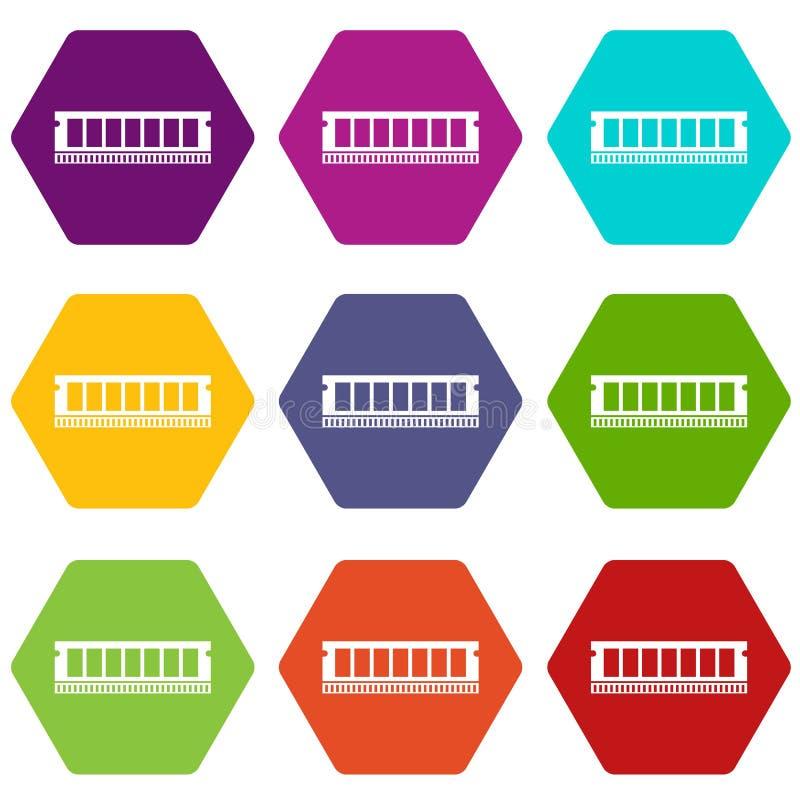 De module van DVD RAM voor de vastgestelde kleur van het personal computerpictogram hexahedron stock illustratie