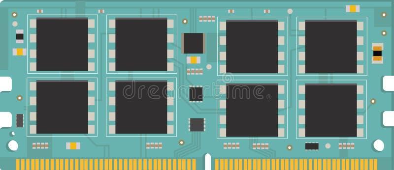 De module van het personal computergeheugen ram stock illustratie
