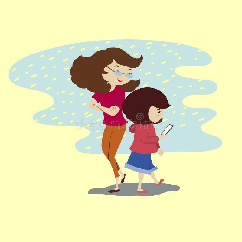 de moeder bekijkt de mobiele telefoon van het dochterspel stock illustratie