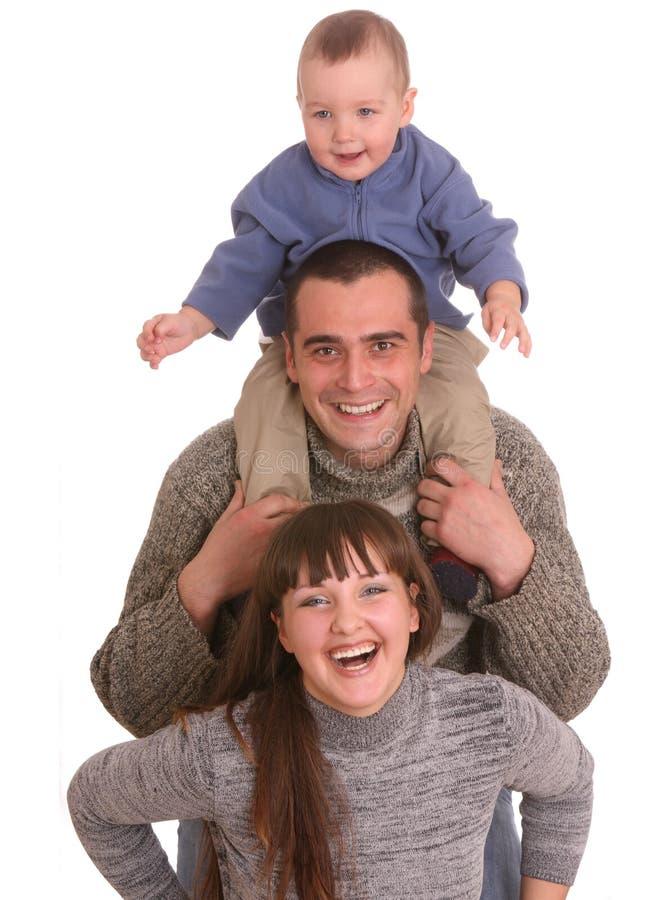 De moeder, de vader en de zoon van het geluk. royalty-vrije stock foto
