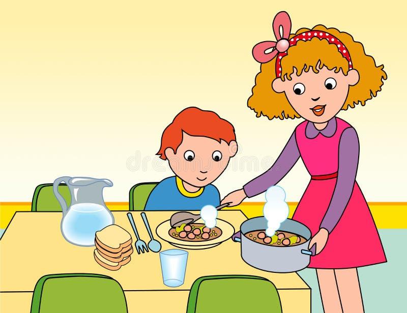 De moeder die haar dient chidren een maaltijd stock illustratie