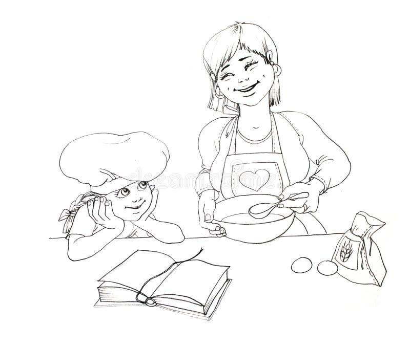 De moeder en de dochter maken de pastei royalty-vrije illustratie