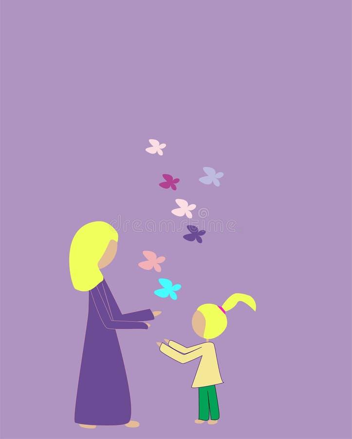 De moeder en de dochter bewonderen vlinders vector illustratie