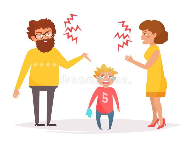 De moeder en de vader schreeuwen bij elkaar vector illustratie