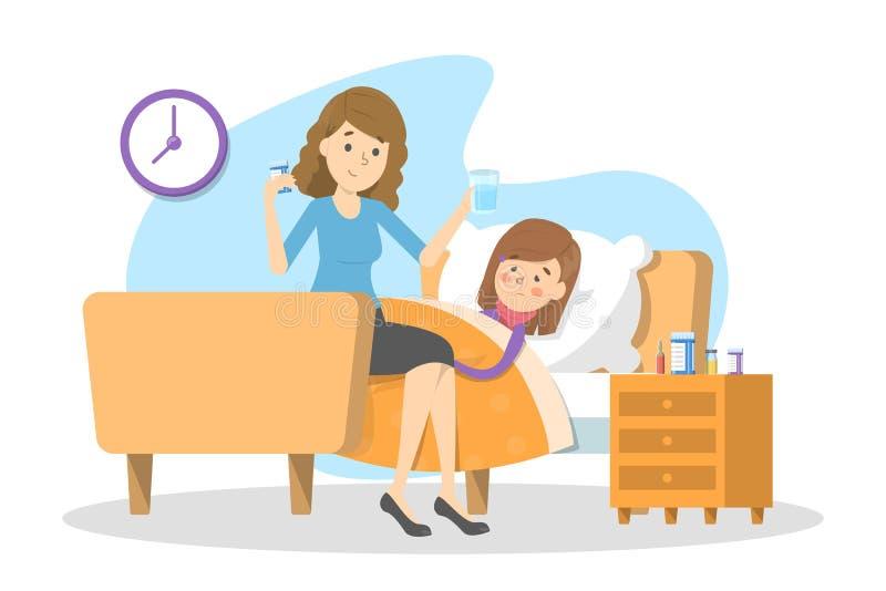 De moeder geeft pillen aan een ziek kind met koorts stock illustratie