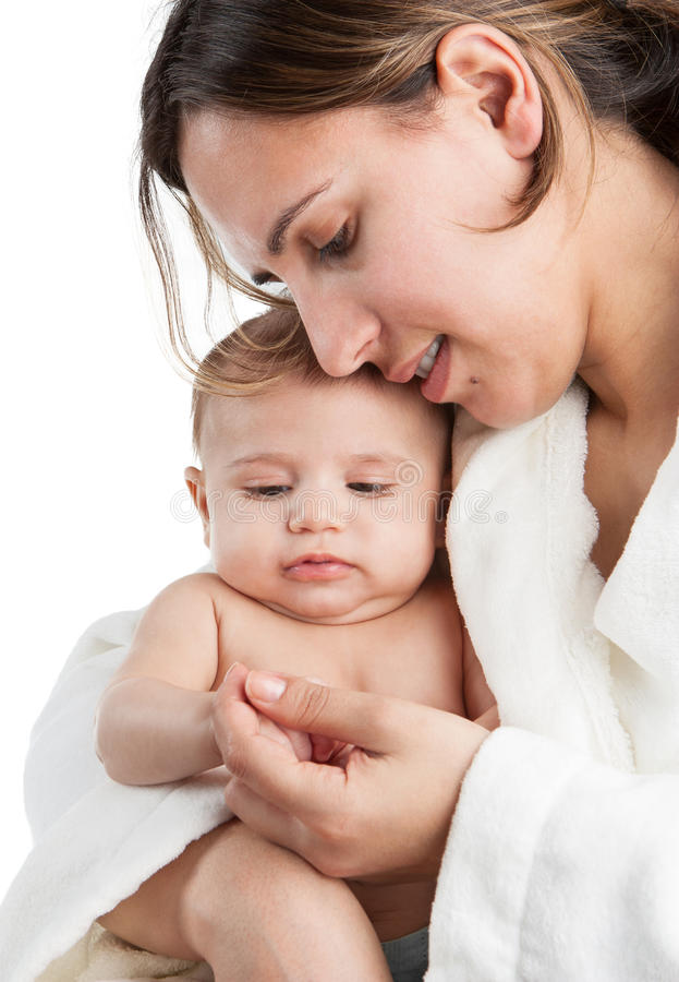 Het Spelen van de Baby van de holding van de moeder royalty-vrije stock foto