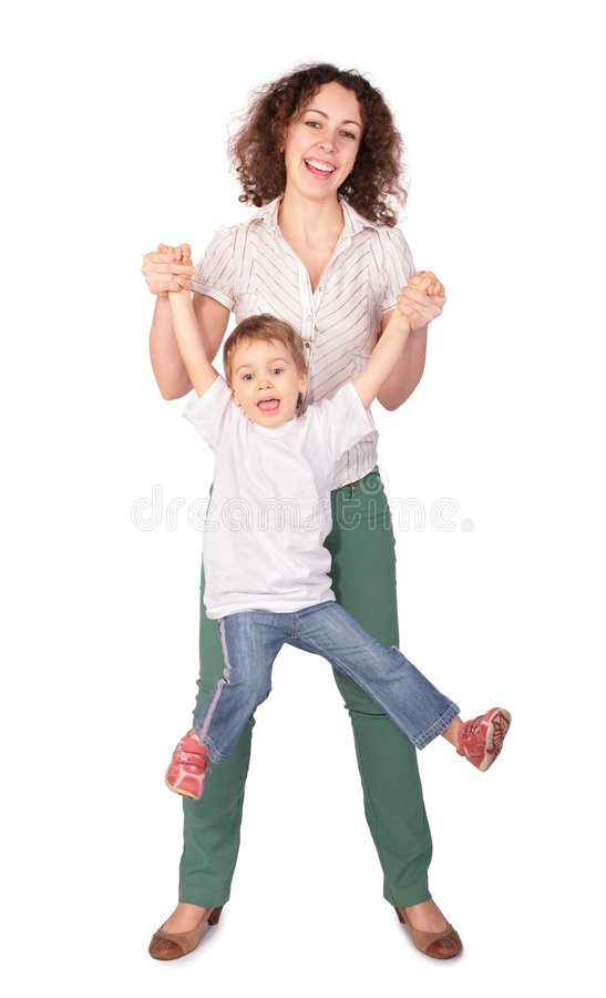 De moeder houdt kind voor handen stock afbeeldingen