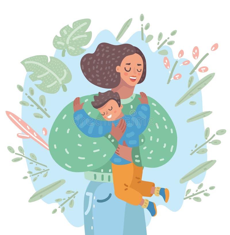 De moeder koestert zacht haar zoon vector illustratie