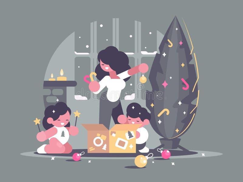 De moeder met kinderen verfraait Kerstboom stock illustratie