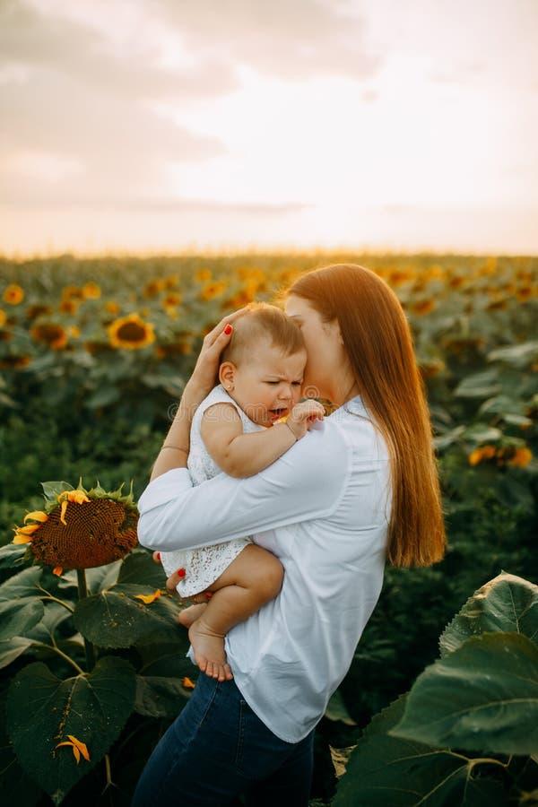 De moeder troost haar schreeuwende baby terwijl het lopen op een zonnebloemgebied stock foto