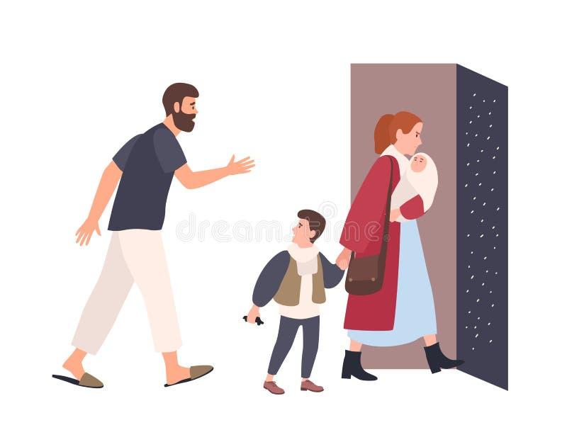 De moeder verlaat huis met kinderen, blijft de vader alleen Conflict tussen ouders Echtgenoten het verdelen Ongelukkig huwelijk royalty-vrije illustratie