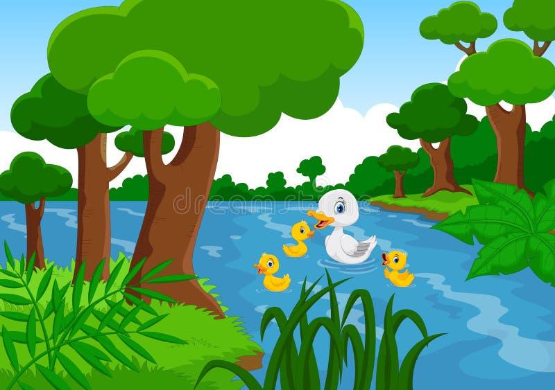 De moedereend zwemt met haar drie kleine leuke eendjes in het meer vector illustratie