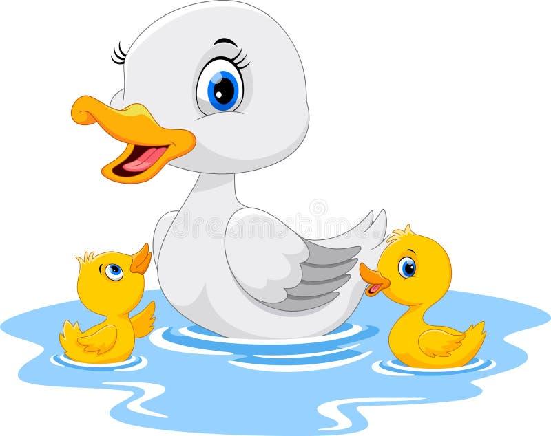 De moedereend zwemt met haar twee kleine leuke eendjes Grappig en aanbiddelijk vector illustratie