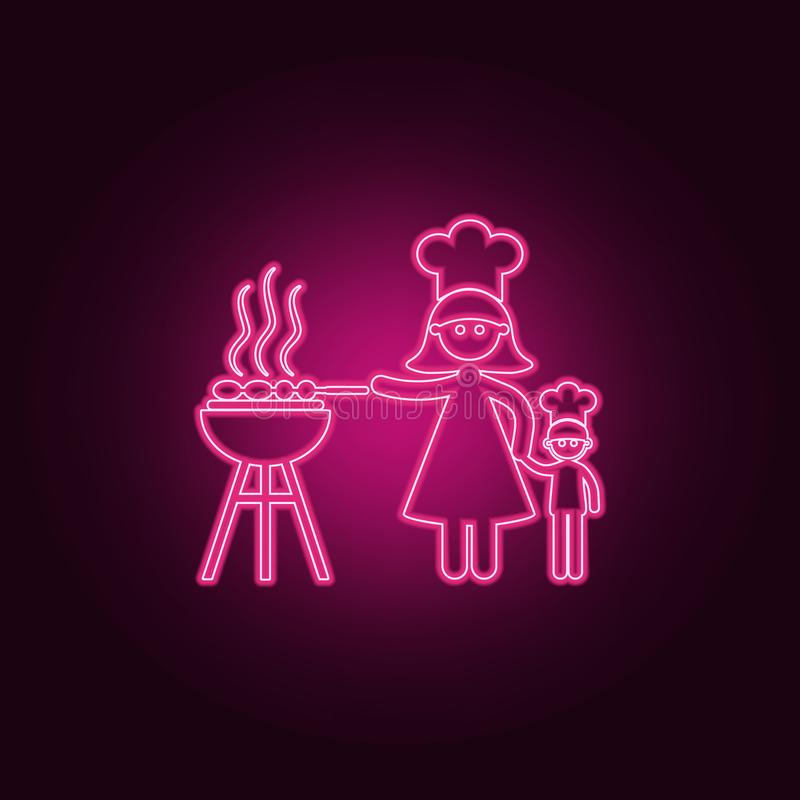 de moederkoks roosteren pictogram Elementen van Familie in de pictogrammen van de neonstijl Eenvoudig pictogram voor websites, We stock illustratie