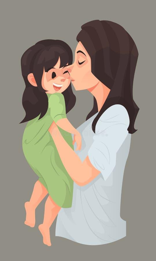 De moederomhelzing en kust haar dochter vector illustratie