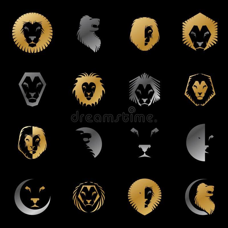 De moedige Lion King-gezichten verzinnebeeldt geplaatste elementen Heraldisch Wapenschild vector illustratie