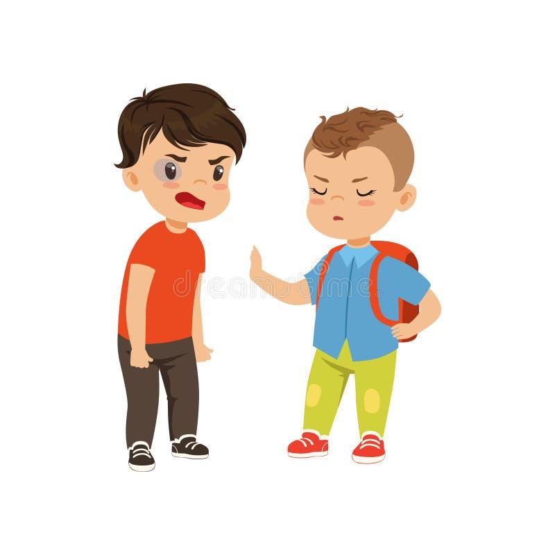 De moedige litlleschooljongen met rugzak die proberen tegen te houden intimideert wie het ruzie maken vectorillustratie op een wi royalty-vrije illustratie