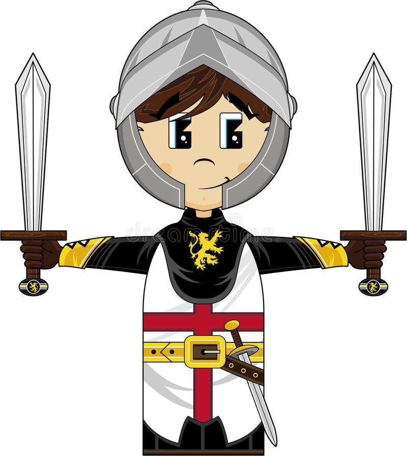 De moedige Middeleeuwse Ridder van de Beeldverhaalkruisvaarder vector illustratie