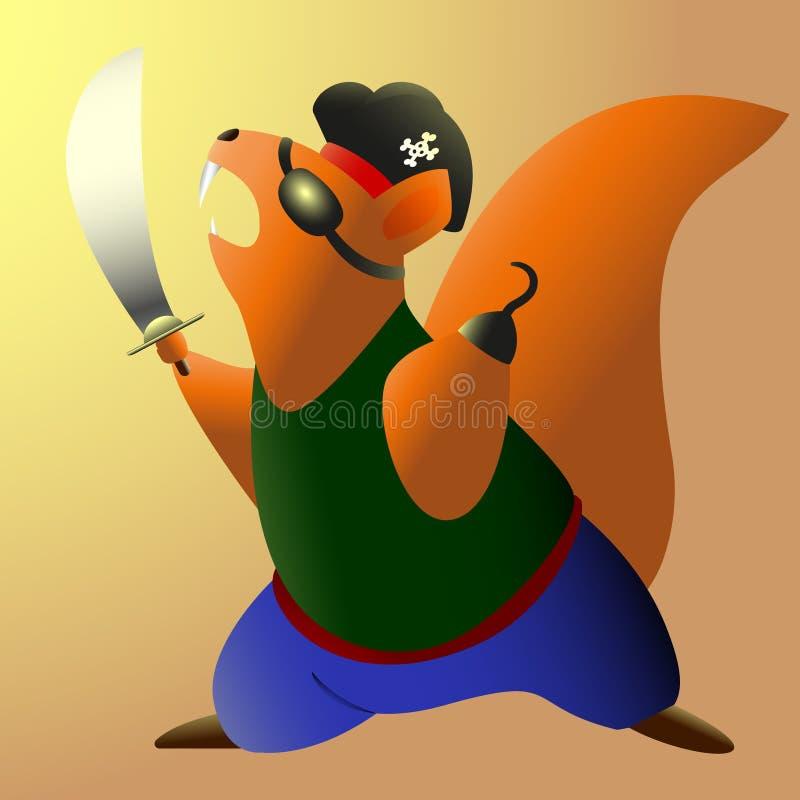 De moedige stormlopen van de eekhoornpiraat aan aanval Vector illustratie stock illustratie