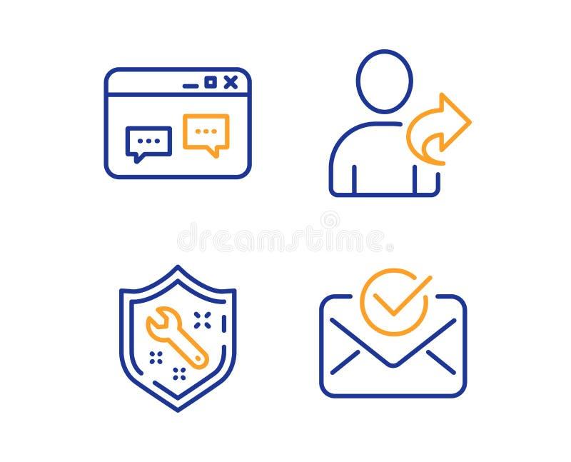 De moersleutel, Browservenster en verwijst geplaatste vriendenpictogrammen Goedgekeurd postteken De reparatiedienst, Websitepraat royalty-vrije illustratie