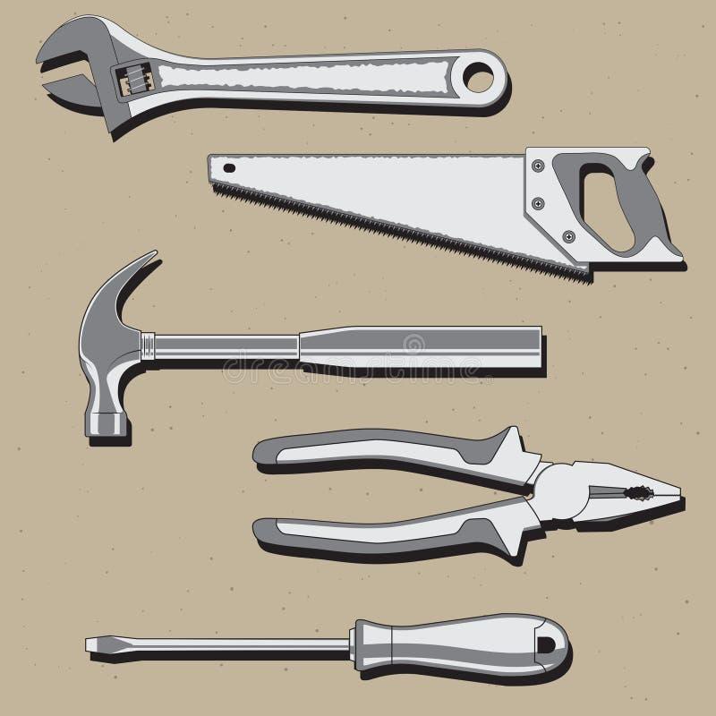 De moersleutel van de hulpmiddelenhamer zag schroevedraaierbuigtang Vector beeld stock illustratie