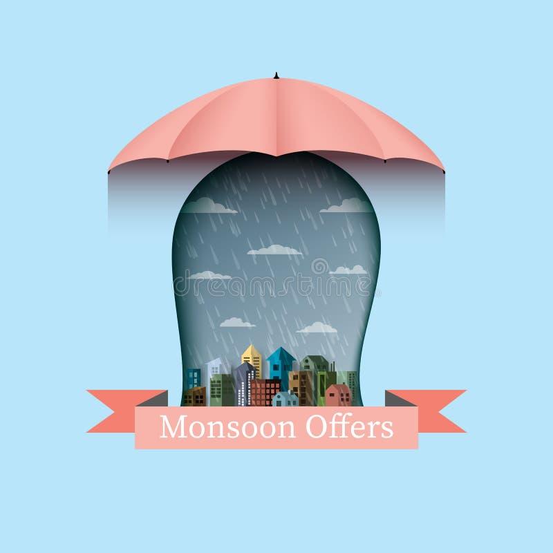 De moesson biedt banner backgroud met paraplu en stad aan Vlakke desi royalty-vrije illustratie