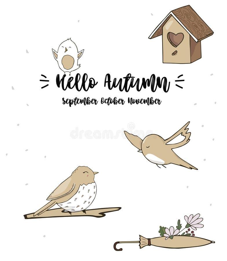 De moineaux d'oiseau chanteur d'illustration de chanteur de dessin de caractère d'oiseau de couleur de texture de sourire de colo illustration libre de droits