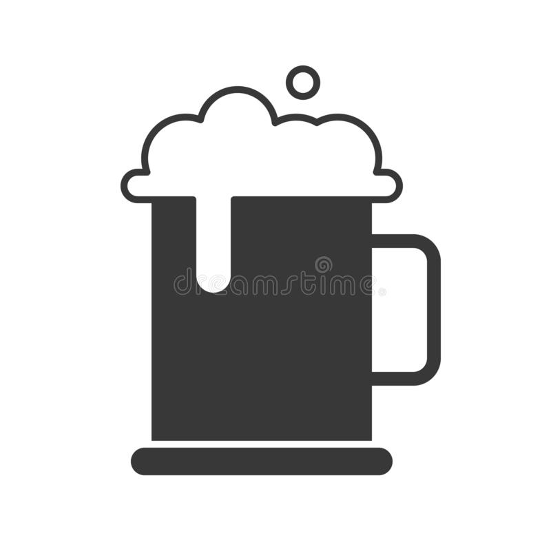 De mok bier en schuim, voedsel en drankreeks, glyph ontwerpt pictogram vector illustratie