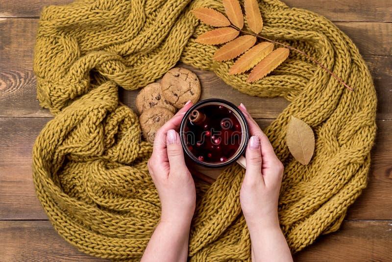 De mok of de Kop van Heet Berry Tea With Yellow Warm breide Sjaal Autumn Maple Leaves Wooden Background de Hoogste Meningsvlakte  royalty-vrije stock afbeelding