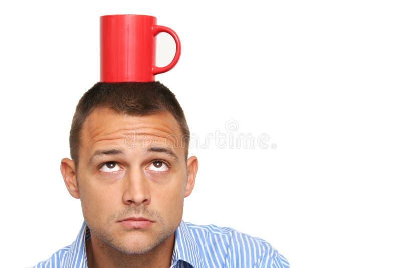 De Mok van de mens en van de Koffie stock foto