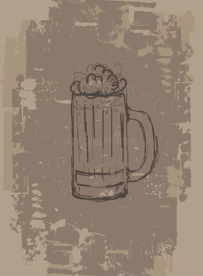 De mok van het bier, grunge achtergrond voor uw ontwerp stock illustratie